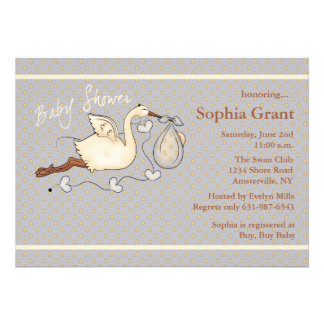 The Stork is Coming stars Baby Shower Invitation