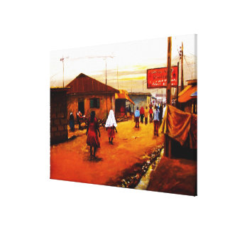 The Street Of Africa Oil On Canvas by Mojisola A G Canvas Print