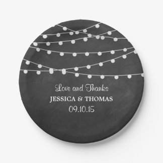 The String Lights On Chalkboard Wedding Collection 7 Inch Paper Plate