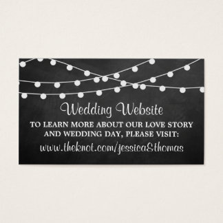 The String Lights On Chalkboard Wedding Collection Business Card