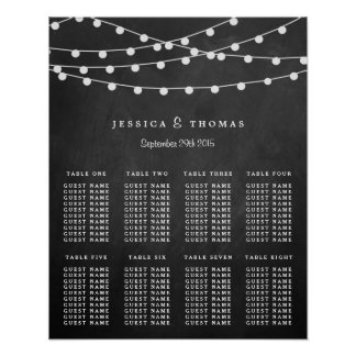 The String Lights On Chalkboard Wedding Collection Posters
