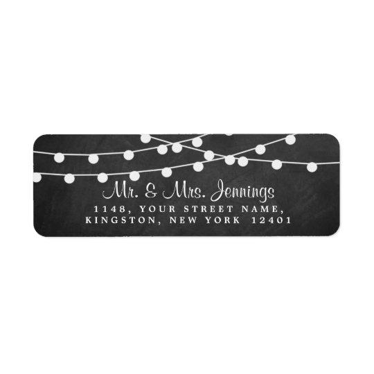 The String Lights On Chalkboard Wedding Collection Return Address Label