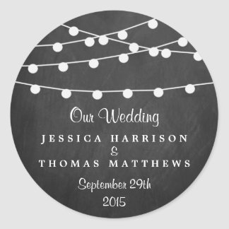 The String Lights On Chalkboard Wedding Collection Round Sticker