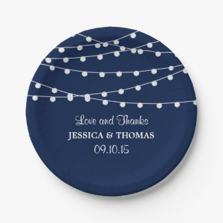 The String Lights On Navy Blue Wedding Collection 7 Inch Paper Plate