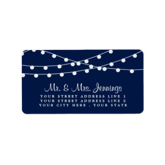 The String Lights On Navy Blue Wedding Collection Address Label