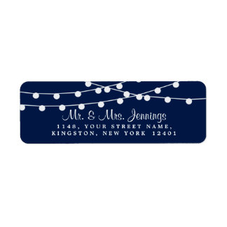 The String Lights On Navy Blue Wedding Collection Return Address Label