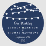 The String Lights On Navy Blue Wedding Collection Round Sticker