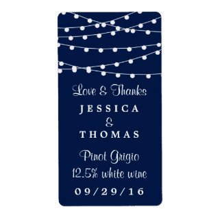 The String Lights On Navy Blue Wedding Collection Shipping Label