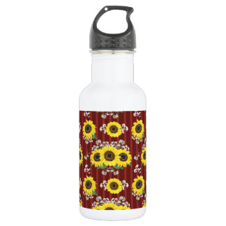 The Striped Red Fresh Sunflower Seamless Pattern 532 Ml Water Bottle