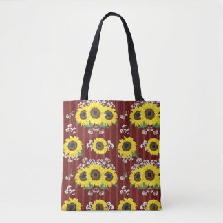 The Striped Red Fresh Sunflower Seamless Pattern Tote Bag