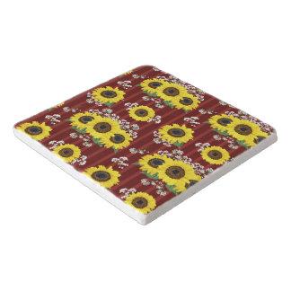 The Striped Red Fresh Sunflower Seamless Pattern Trivet