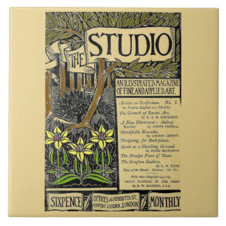 The Studio Vintage Magazine Cover Large Square Tile