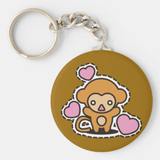 The stuffed toy of the monkey basic round button key ring