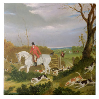 The Suffolk Hunt - Going to Cover near Herringswel Ceramic Tile