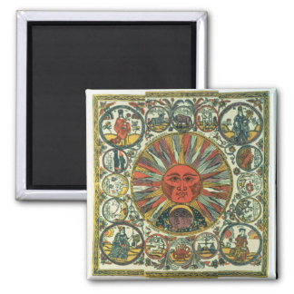 The Sun and the Zodiac, Russian, late 18th century Square Magnet