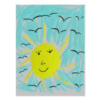 The sun in the sky postcard