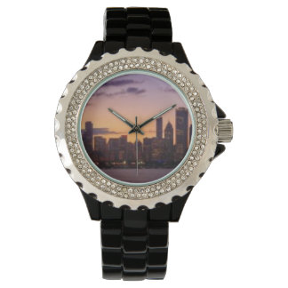 The sun sets over the Chicago skyline Wristwatch