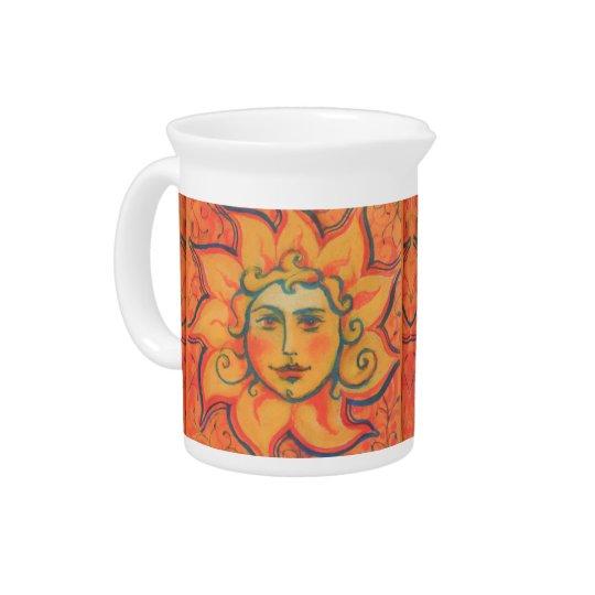The Sun, sunface, yellow orange red, fantasy art Pitchers