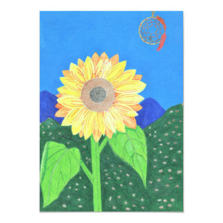 The Sunflower Dream Catcher Card by Julia Hanna 13 Cm X 18 Cm Invitation Card