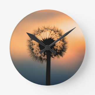 The Sunset and the Fragile Dandelion Round Clock