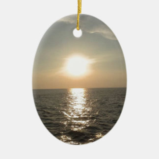 The Sunset at Bantayan Island in the Philippines Ceramic Oval Decoration