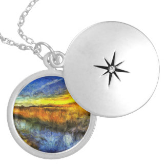 The Sunset River Van Gogh Silver Plated Necklace