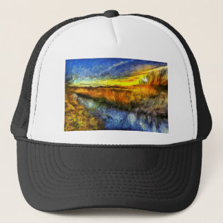 The Sunset River Van Gogh Trucker Hat