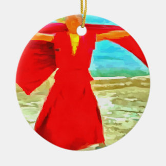 The super fit monk in red ceramic ornament