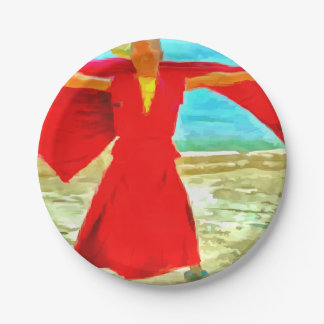 The super fit monk in red paper plate