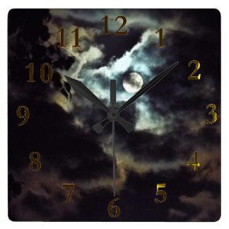 the super moon square wall clock