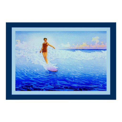 The Surf Rider ~ Hawaii ~ Vintage Fine Art Posters