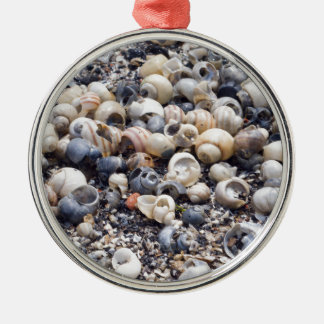 The surface of the sea coast with blur background Silver-Colored round decoration