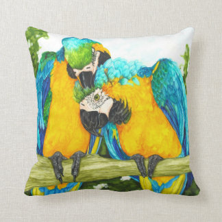 The Sweet Sot - Blue and Gold Macaws Throw Pillow