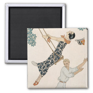 The Swing, 1923 (pochoir print) Square Magnet
