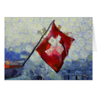 The Swiss Flag in a storm Note Card