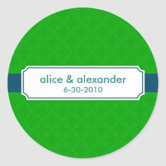 The Sylvia in Navy and Green Wedding Sticker/Label Classic Round Sticker