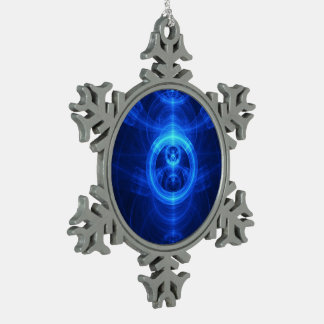 The Symbol of Purpose, Blue Glass Fractal Circles Snowflake Pewter Christmas Ornament