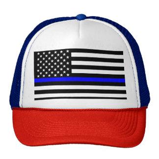 The Symbolic Thin Blue Line Graphic US Flag Cap