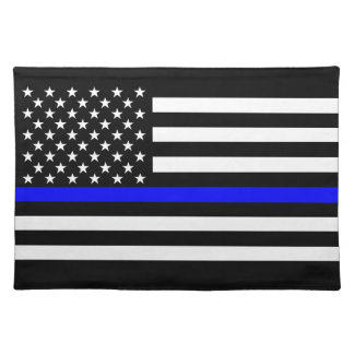 The Symbolic Thin Blue Line Graphic US Flag Placemat