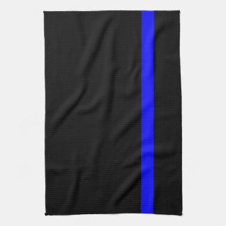 The Symbolic Thin Blue Line on a black decor Tea Towel