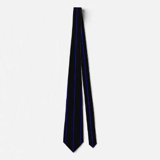 The Symbolic Thin Blue Line on a black decor Tie