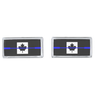 The Symbolic Thin Blue Line on Canadian Maple Leaf Silver Finish Cufflinks
