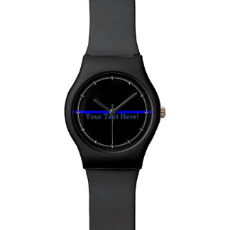 The Symbolic Thin Blue Line Your Text on Black Watch