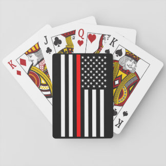 The Symbolic Thin Red Line American Flag Playing Cards
