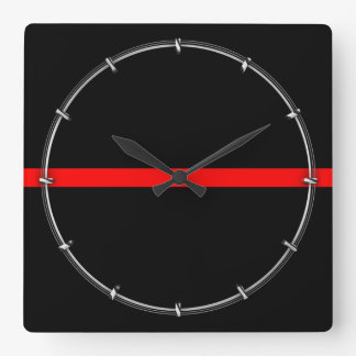The Symbolic Thin Red Line Graphic on a Square Wall Clock