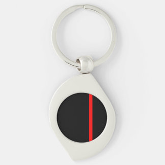 The Symbolic Thin Red Line on a black decor Key Ring