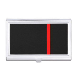 The Symbolic Thin Red Line on Black Business Card Holder