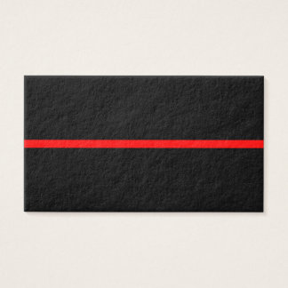 The Symbolic Thin Red Line on Solid Black Business Card
