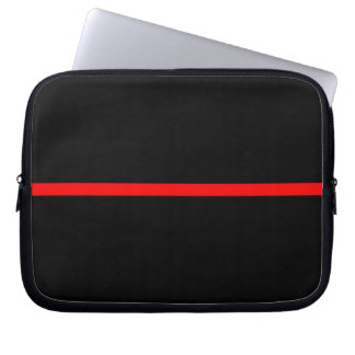 The Symbolic Thin Red Line Statement on a Laptop Sleeve