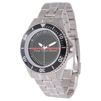 The Symbolic Thin Red Line Watch with Your Text